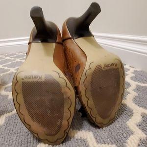 kenzie Shoes - Kensie Tan Leather Open Toe Pump